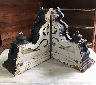 Antique Pair(2) 1890's Wood Corbels Brackets Gingerbread  White Black 435-17