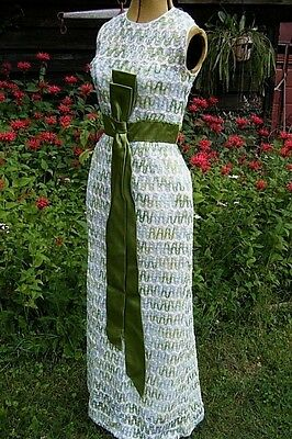 Vintage 1960's Beautiful Ribbon full length DRESS never worn w/ tags  30-24-36