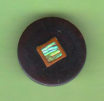 INLAY HORN ANTIQUE BUTTON w PEARL  CENTER AND GOLD INLAY METAL BORDER