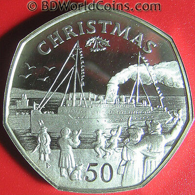 1990 ISLE OF MAN 50 PENCE .46oz SILVER PROOF CHRISTMAS SHIP CHILDREN CAT 7-SIDED