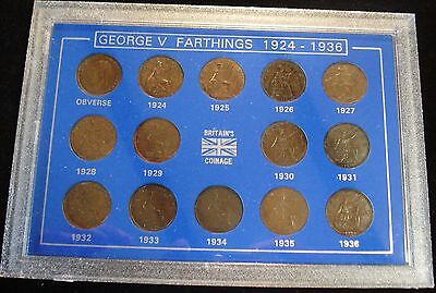George V 1924-1936 Set Of 14 Farthings Clear Dates Display Case Ideal Gift