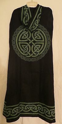 Black & Green Celtic Knot Cloak / Cape Pagan Wicca Ritual Robe - New