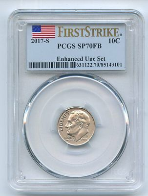 2017 S 10C Roosevelt Dime Enhanced PCGS SP70 First Strike