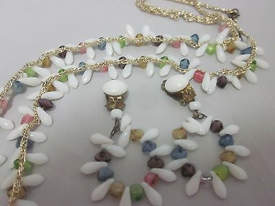 Vintage WESTERN GERMANY Glass Cluster White Purple Blue Necklace Earring Set
