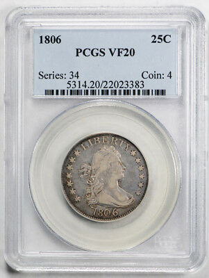 1806 25C Draped Bust Quarter PCGS VF 20 Very Fine US Type Coin