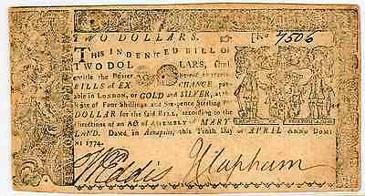 APRIL 10th 1774 -  COLONIAL CURRENCY MARYLAND  FR#MD-67 - FINE