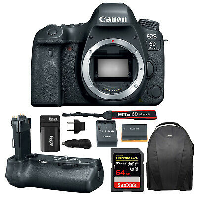 Canon EOS 6D Mark II DSLR Camera Body & BG-E21 Battery Grip + Battery & Charger