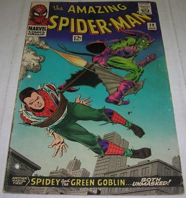 AMAZING SPIDER-MAN #39 (Marvel Comics 1966) GREEN GOBLIN'S i.d. revealed (GD-)