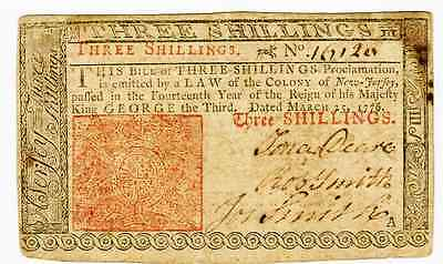 March 25Th 1776 -  3 Shillings Colonial Currency New Jersey  Fr#nj-177 - Fine