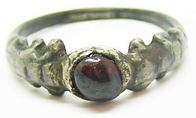 Nice 16th century Renaissance Silver & Garnet Finger Ring Size 8 1/2 Wearable!
