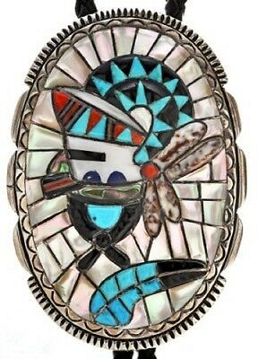 Huge Vintage Sterling Silver Turquoise Bolo Tie by Zuni Nick & Theresa Luhela