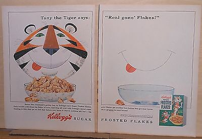 1954 two page magazine ad for Kelloggs Frosted Flakes - Tony the Tiger, big grin