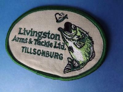 Livingston's Arms & Tackle Tillsonburg Patch Vintage Gun Fishing Tackle Hunting