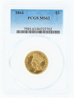 1864 PCSG MS63 $3 Three Dollar Gold