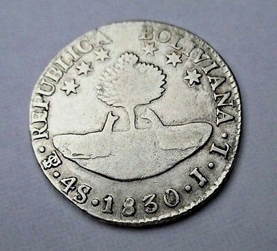 Potosi Bolivia Extremely Fine  Large 4 Soles 1830 13.3 Grams Of Silver