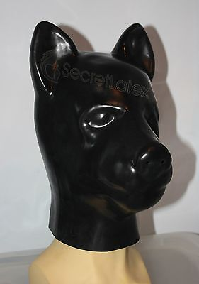 Latex Rubber Black Dog Puppy Hood Full Head Fetish Gummi Mask Pet Men Animal Uk