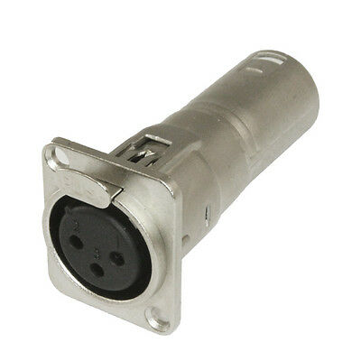 3 pin XLR female to male audio Pass through feed panel mount connector adapter