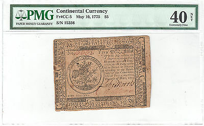 Contiental Currency $5 May 10, 1775 S/N 15356 - PMG EF40 NET Fr#CC-5