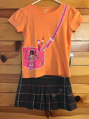 *GYMBOREE* Girls PANDA ACADEMY 2 Piece Top Shirt & Plaid Pleated Skirt Size 8