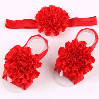 1set/3Pcs Baby Infant Headband Foot Flower Elastic Hair Band Accessories Red d
