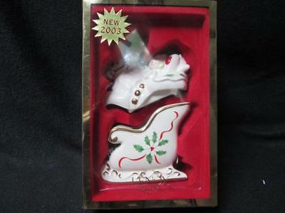 Lenox Holiday Reindeer & Sleigh Stackable Salt And Pepper Shakers#6238638 New