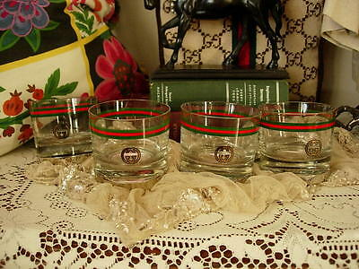 RARE Vintage GUCCI Red Green GG Old Fashion Glasses Holiday Service Barware