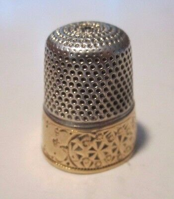 1800's Sterling Silver & Gold Band Sewing Thimble