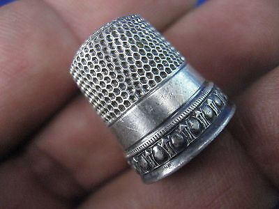 THIMBLE STERLING SILVER Sz 9 VINTAGE SEWING MADE IN USA