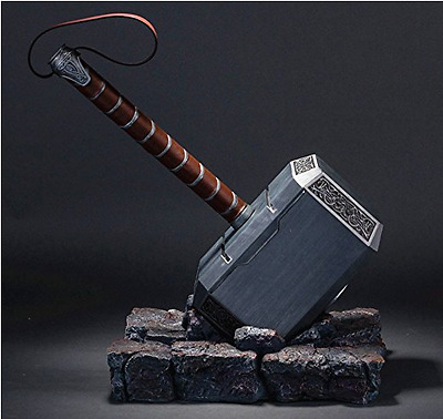 US! Avengers Thor 1:1 Full Resin Solid Hammer Base Halloween Cosplay Props Gifts