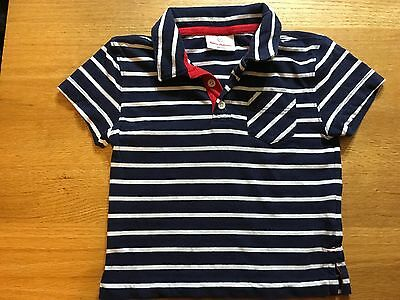 Hanna Andersson Navy/White Striped Polo Shirt Boys size 90/2-3T