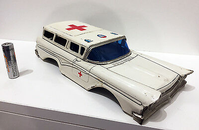 Ambulance Car Japan Tin Plate Toy Top Shell - parts display or repair lithograph