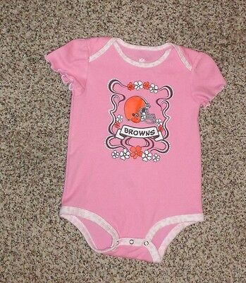 Baby Girls NFL Cleveland Browns Pink Brown White Romper Short Sleeve 12 Months