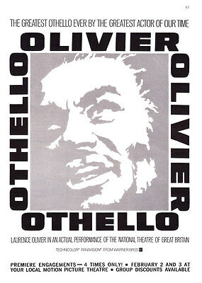 """1966 Laurence Olivier in National Theatre of GB """"Othello"""" Movie promo print ad"""