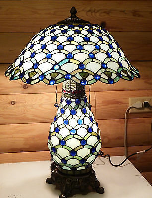 Blue Stained Glass Table Lamp.Lights up Top and Bottom