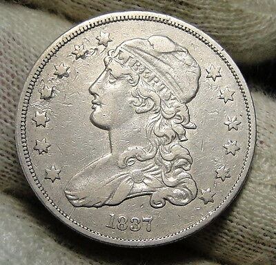 1837 Capped Bust Quarter 25 Cents -  Rare Key Date only 252,400 minted. (3782)