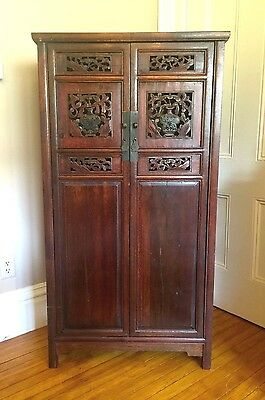 Chinese Antique Cabinet Armoire CARVED~1800's