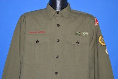 vintage 50s BOY SCOUTS OF AMERICA BSA UNIFORM BROOKLYN NY GREEN SHIRT LARGE L