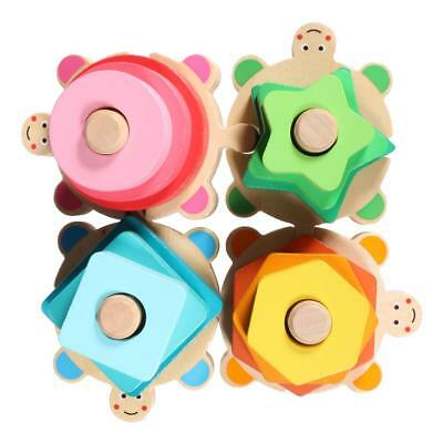 Kids Intellectual Developing Wooden Toys 4 Pillar Matching Shape Funny Gift
