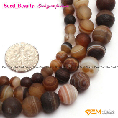 """Natural Stone Striped Agate Gemstone Beads For Jewelry Making 15"""" Rund Matte"""