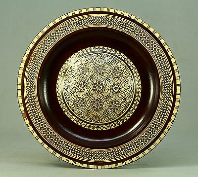 *Fine Mahogany SADELI/CAIRO Work Inlay Plate REAL Mother-of-Pearl & Camel Bone#2