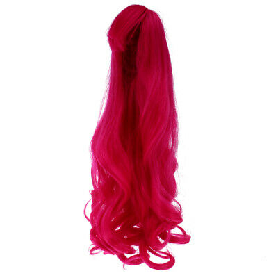 40cm Rose Red Curly Hair Wig Hairpiece for 60cm 1/3 MSD DZ DOD LUTS BJD Doll