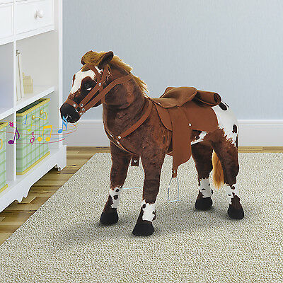 """Kids Toys Toy Ride On Horse Plush 23.6""""H Standing Pony Cowboy Gift Neigh Sound"""