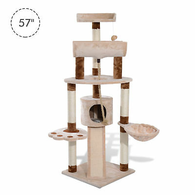 "57"" Cat Tree Tower Furniture Kitty Pet Play Scratching Post W/ Condo"