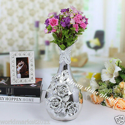 New European Style Silver Manual Flower Ceramic Home Accessories Decoration Vase