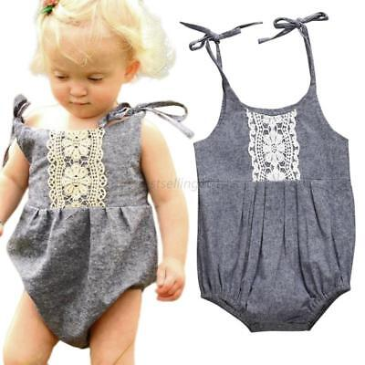 AU Baby Girl Sleeveless Romper Lace Kid Jumpsuit Bodysuit Summer Outfits Clothes