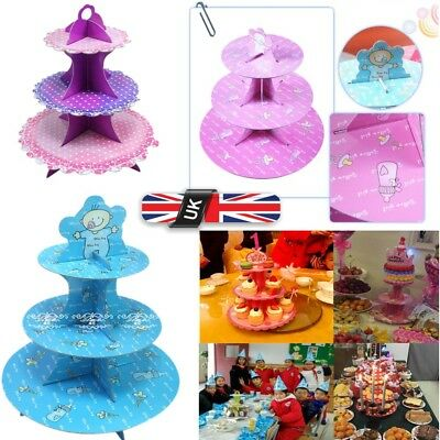 3 Tier Paper Foldable Cupcake Cake Stand Wedding Birthday Party Show Tower Rack