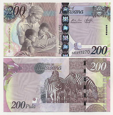 Botswana 200 Pula ND 2009 Pick New UNC Uncirculated Banknote Serial AA