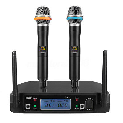 Wireless UHF LCD 2 Channel Microphone Dual Cordless Handheld Mic System W/ BOX