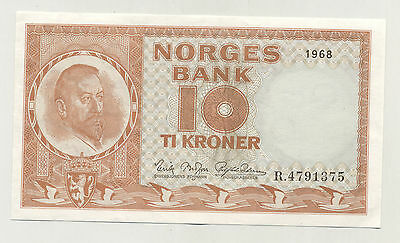 Norway 10 Kroner 1968 Pick 31.d XF+ Circulated Banknote