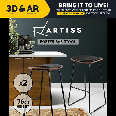 2x Wooden Bar Stools PORTER Kitchen Barstool Dining Chair Wood Black 9078